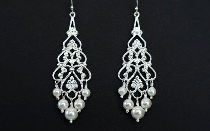 Bridal Chandelier Earrings - Pearl Chandelier Earrings, Silver