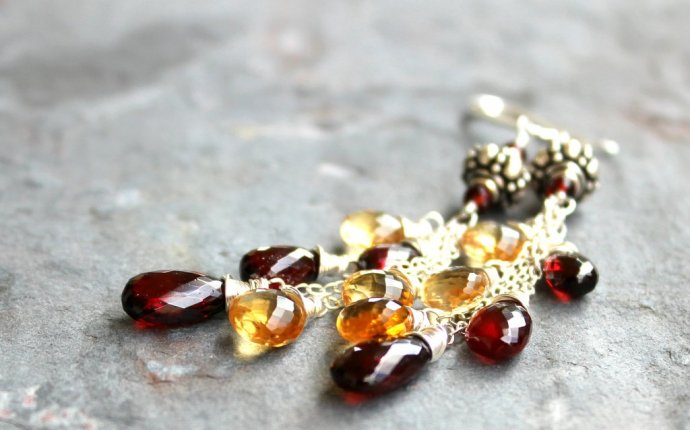 Citrine Garnet Long Sterling Silver Gemstone Earrings, Handmade by