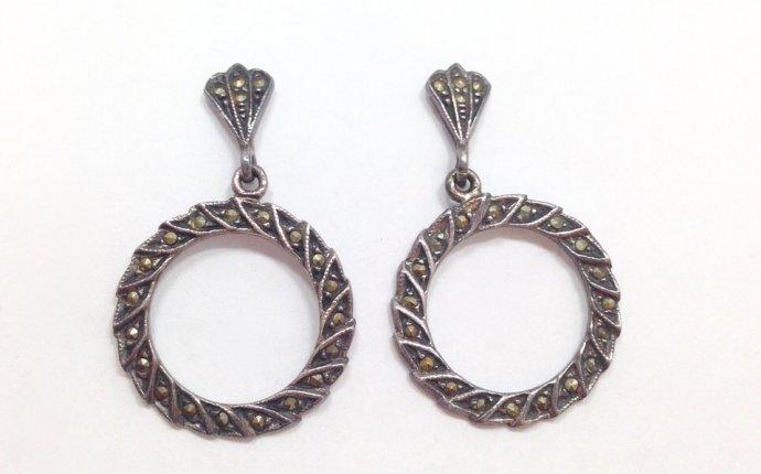 Dangle Circle Marcasite Sterling Earrings