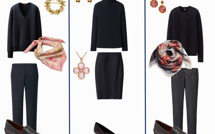 Navy Capsule Wardrobe with Accessories in Rose, Amethyst and