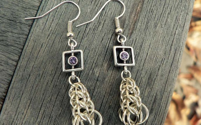 Persian Chain with Lavender Crystals Homemade Earrings photo