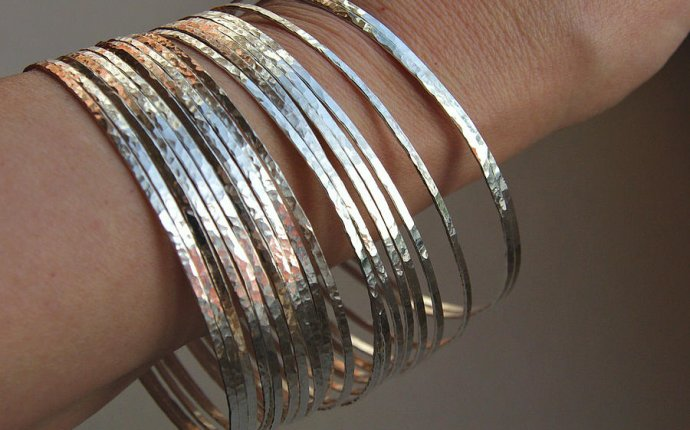 Thin Handmade Hammered Sterling Silver Stack Bangle Bracelets