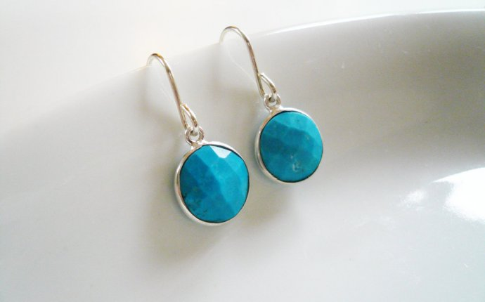 Turquoise Earrings in Sterling Silver - Dainty Everyday Silver and