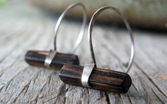 Wood and sterling silver hoop earrings by MaryAnneKarren on Etsy