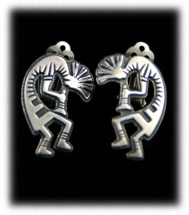 Handmade Silver Kokopelli Earrings - handmade silver jewelry
